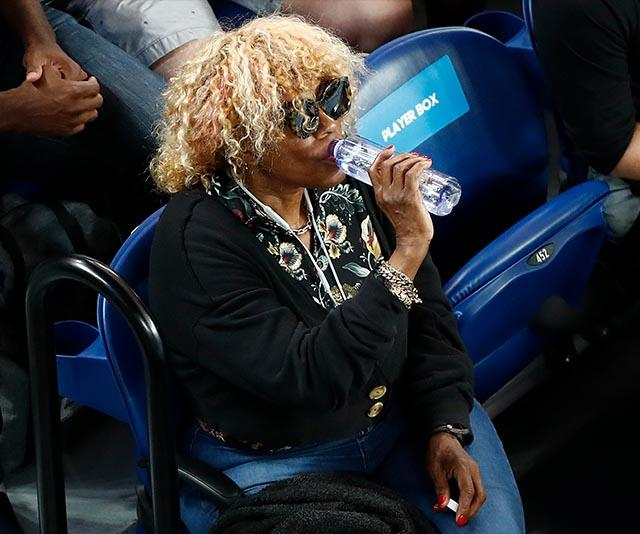 Mother to the legendary Serena and Venus Williams, Oracene Price was spotted staying hydrated between sets.
