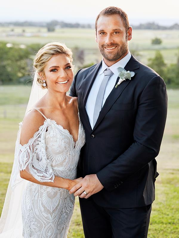 Robbo (Jake Ryan) and Jasmine (Sam Frost) pictured on their wedding day.