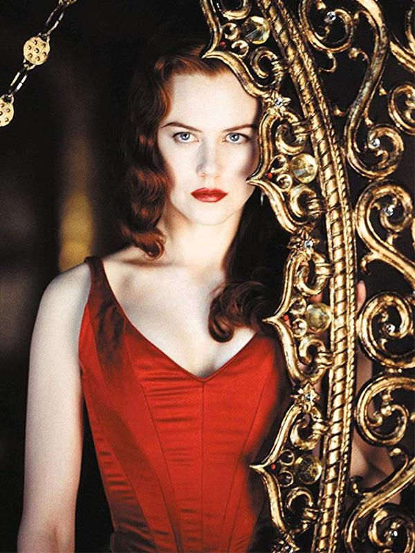 Nicole Kidman starring at Satine in the iconic 2001 film *Moulin Rouge*.
