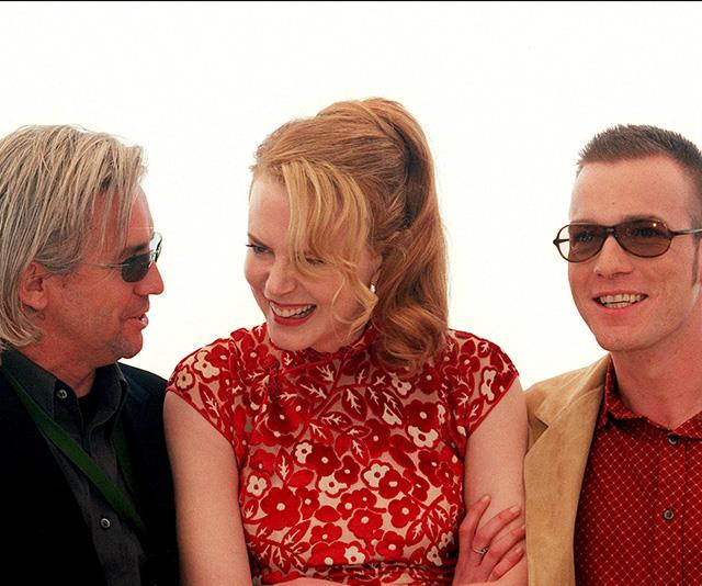 Nicole (centre) with the film's director Baz Luhrmann and her co-star Ewan McGregor at the 2001 Cannes Film Festival.