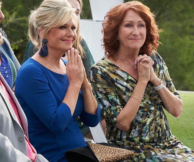 Irene (Lynne McGranger, left) and Marilyn (Emily Symons, right) are delighted for their great friends.