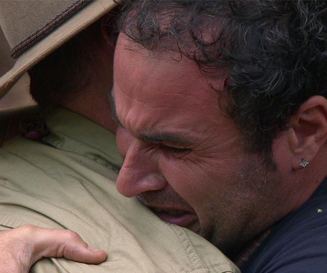 Miguel breaking down as he farewelled Tom Williams on *I'm A Celeb!*