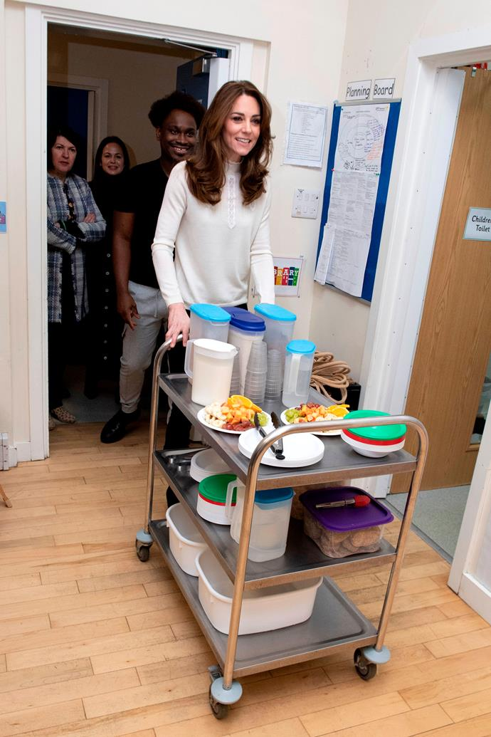 The royal mum-of-three also helped out serving breakfast.