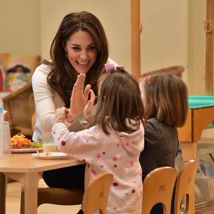 Kate was clearly in her element playing with the young'uns.