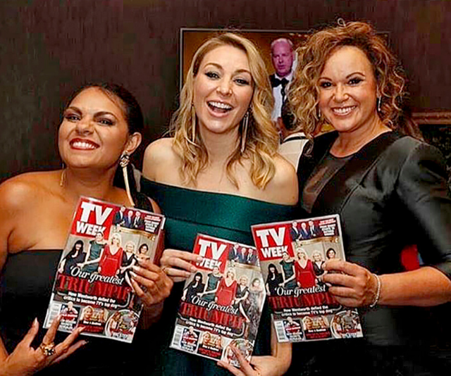 *Wentworth* stars (from left) Rarrjwuy Hick, Kate and Leash Purcell love a good read!