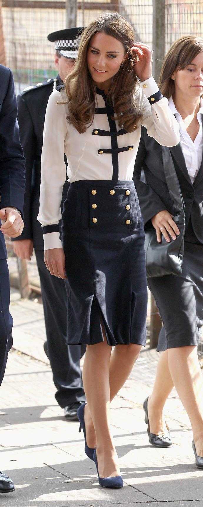 Nautical style can be hit or miss, but Kate well and truly nailed it in this Alexander McQueen number, which she wore  during a 2011 visit to the Midlands.