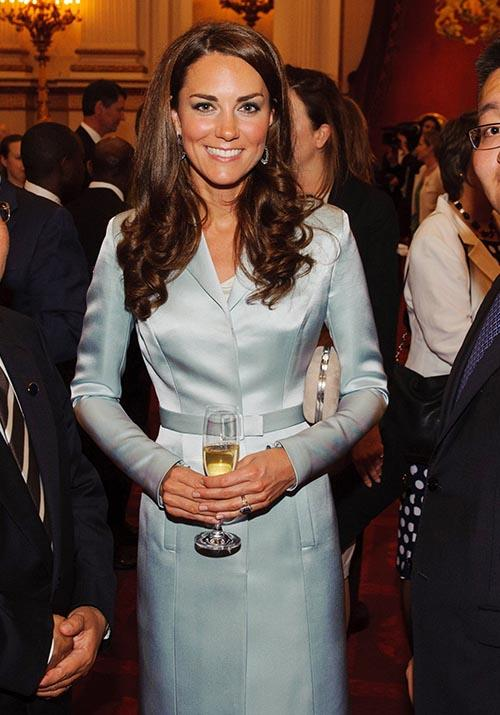 In 2012, Kate attended a Buckingham Palace reception wearing this chic Christopher Kane coat dress.