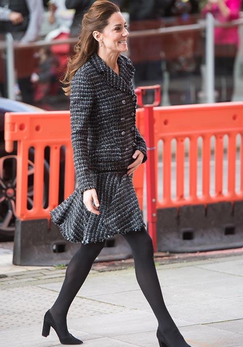 "It'll never go out of style - Kate opted for the look once again in January 2020 as she [visited the Evelina Children's Hospital](https://www.nowtolove.com.au/royals/british-royal-family/kate-middleton-evelina-hospital-62336|target=""_blank"")."