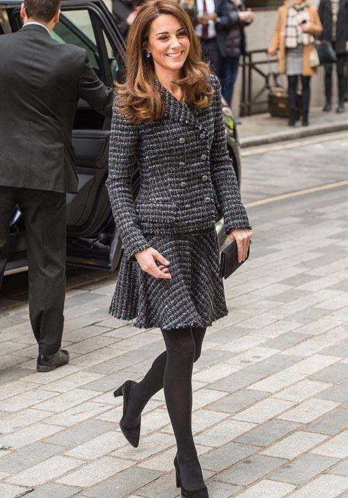 Queen of the skirt suit, Kate was oozing chic in this tweed Dolce & Gabbana ensemble for a Mental Health In Education event in 2019.