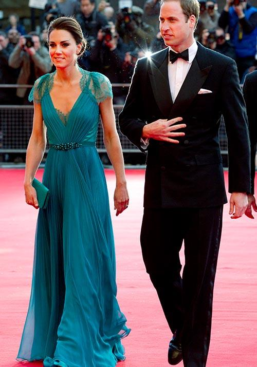 In yet another heavenly red carpet moment, Kate wore this aqua Jenny Packham number to an Olympic Games gala in 2012.