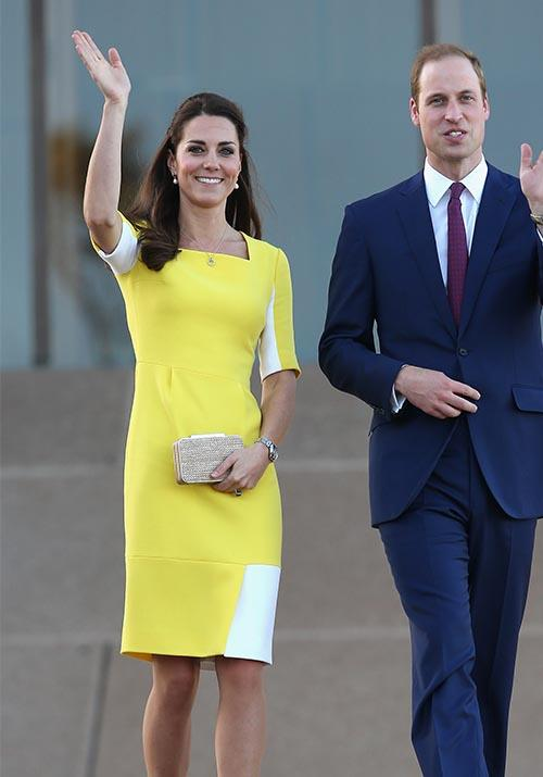 During her tour of Australia with Prince William in 2014, Kate made a zesty statement in this yellow Roksanda number.