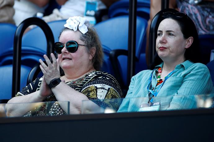 Magda Szubanski was riveted as the semi final match between Ash Barty and Sofia Kenin took place.
