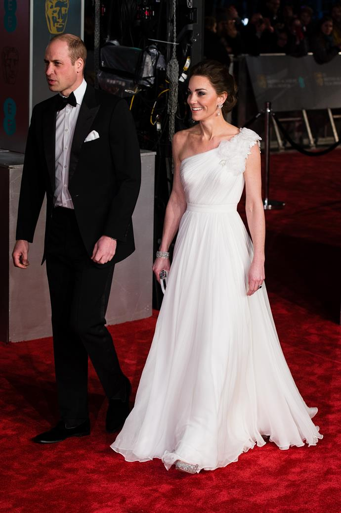 """Kate stepped out in the gown of our dreams at the [2019 BAFTA Awards](https://www.nowtolove.com.au/fashion/red-carpet/kate-middleton-princess-diana-earrings-baftas-54081