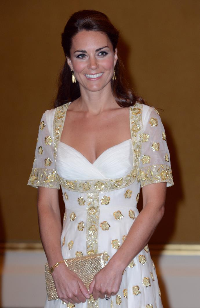 Kate wore the same Alexander McQueen gown at a 2012 reception in Malaysia.