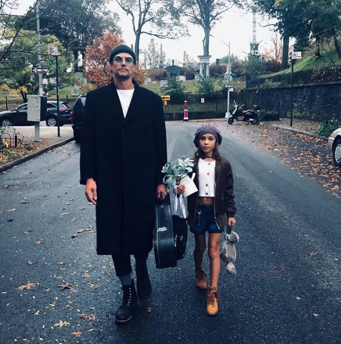 David and Rei dressed as the characters from *Léon: The Professional* for Halloween.