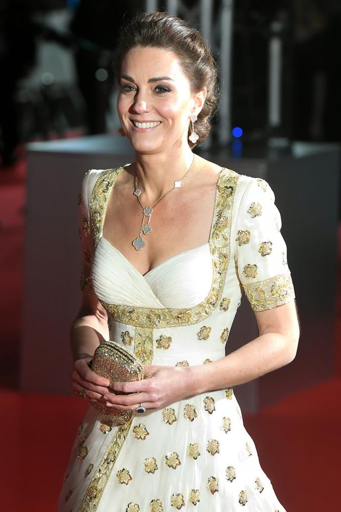 "And in a glorious repeat, the Duchess [recycled the heavenly gown for the 2020 BAFTA Awards](https://www.nowtolove.com.au/royals/british-royal-family/kate-middleton-baftas-dress-2020-62408|target=""_blank"") - a poignant move given the sustainable focus for the evening."