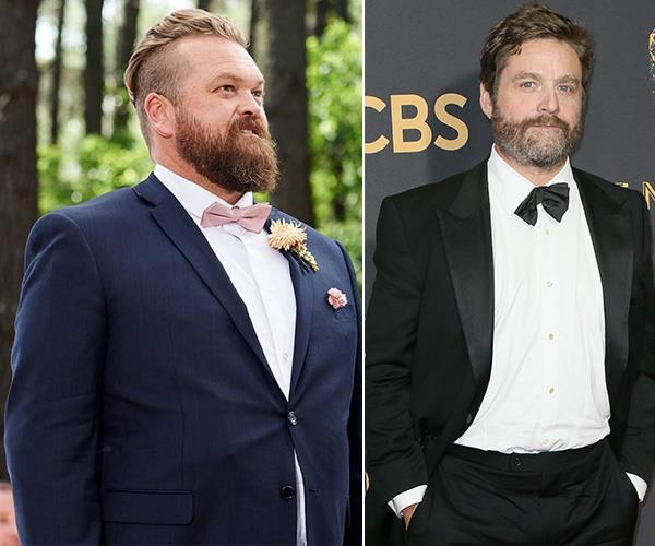 Meanwhile, her husband Luke resembles is an Aussie twist on *The Hangover*'s Zach Galifianakis.