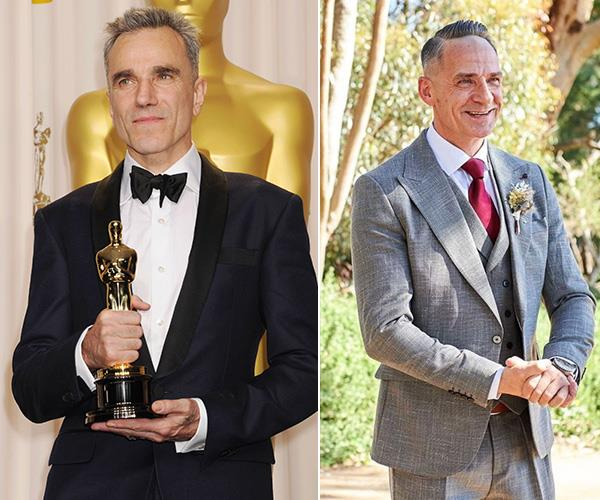 Those strong jawlines make us think silver foxes Daniel Day Lewis and Steve were separated at birth.