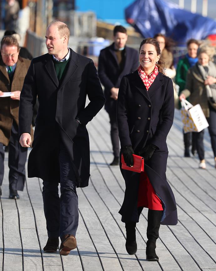 Kate epitomised winter chic in a gorgeous navy Hobbs coat.