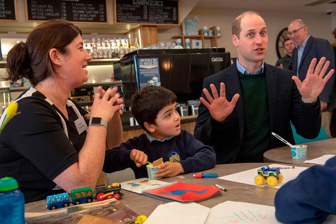 Wills spoke about his own children as they sat with some local families in the ice cream store.
