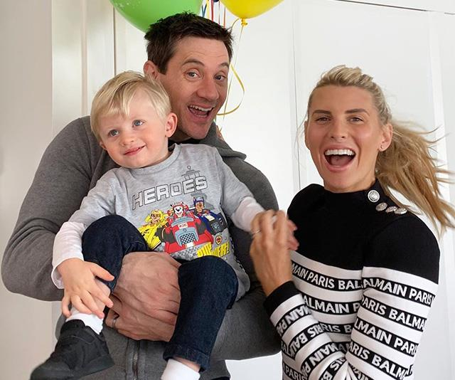 Ed Kavalee with wife, Tiff Hall, and first born son, Arnold.