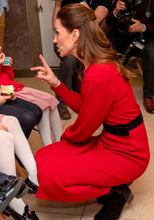 Chic as ever, the mum-of-three opted for a stylish Zara red dress while visiting Wales in February 2020. Accessorising with a simple black belt, Kate proved you can look a million bucks without a million bucks any day!