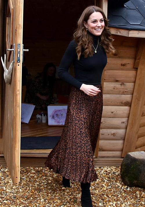 """Visiting Cardiff in early 2020, the Duchess pulled off yet another Zara win after wearing this [chic leopard print midi skirt](https://www.nowtolove.com.au/royals/british-royal-family/kate-middleton-zara-animal-print-skirt-62260 target=""""_blank""""), which costs $20. Steal!"""