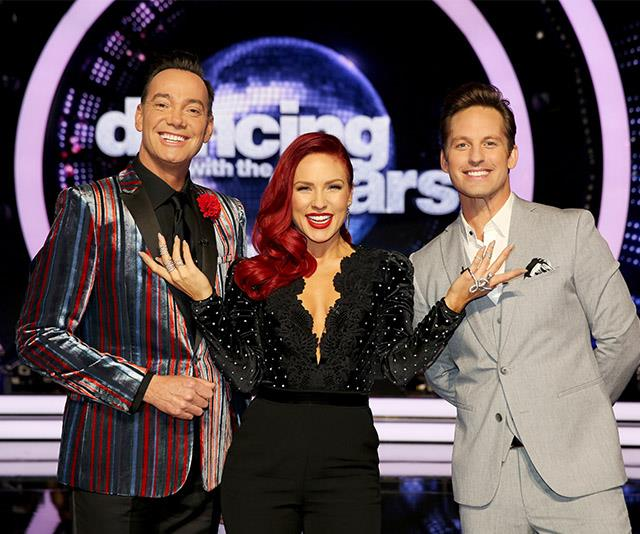 Tristan (right) pictured with his fellow DWTS judges Craig Revel Horwood (left) and Sharna Burgess (centre).