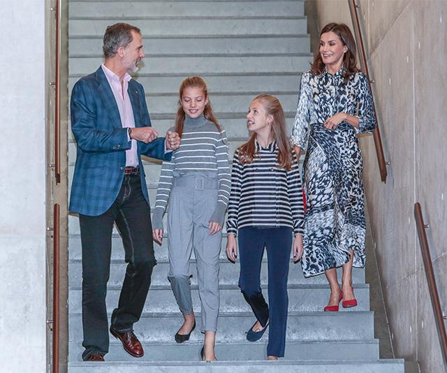 Letizia and her family pictured back in November 2019 - notice the same outfit?