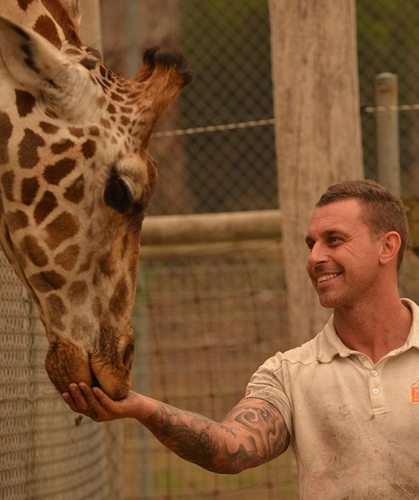 Dedicated zoo keeper Chad stayed put in the fires, risking his life to save his animals.