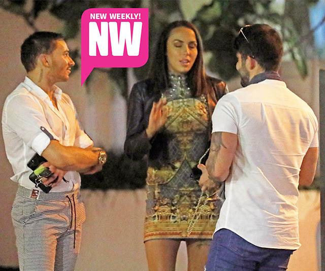 Natasha looked super glam as she chatted to Andrew and a friend on her night out.