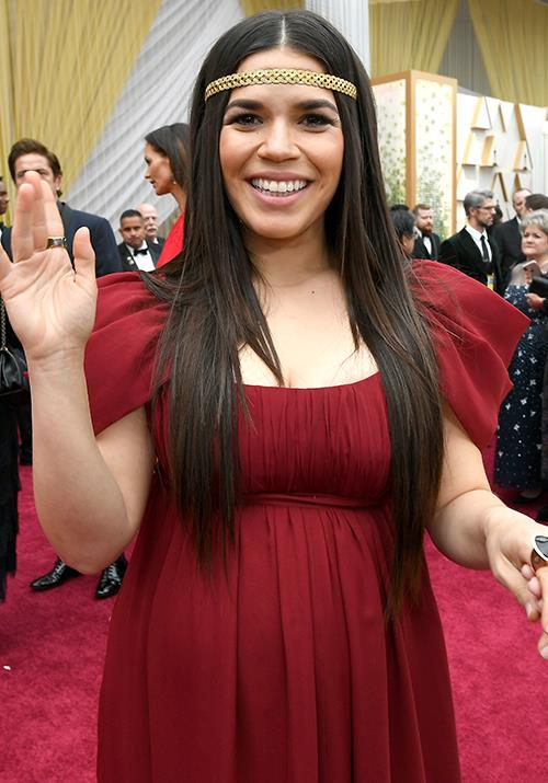 America Ferrera opted for a Roman-esque ensemble with an empire waist that complemented her growing baby bump.