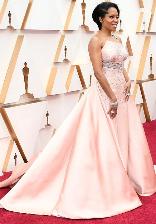 Regina King opted for the colour of the season in a showstopping pastel pink gown.
