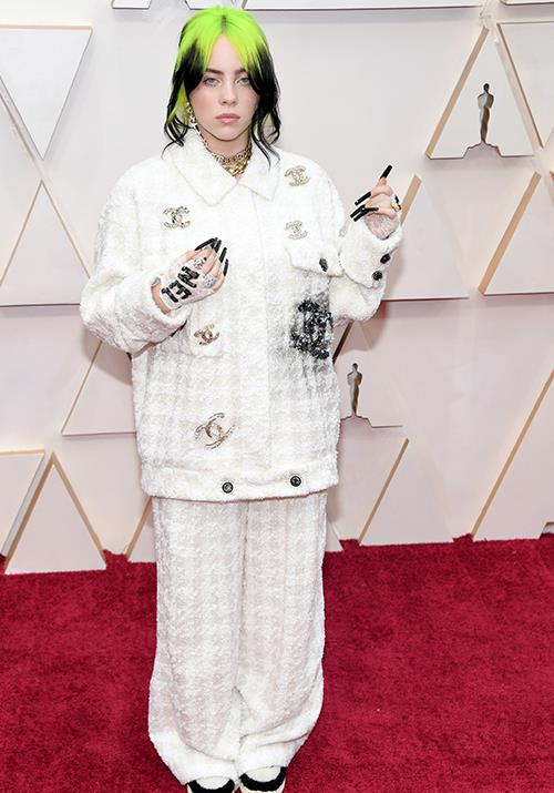 Singer Billie Eilish was dripping in couture in this custom Chanel creation.