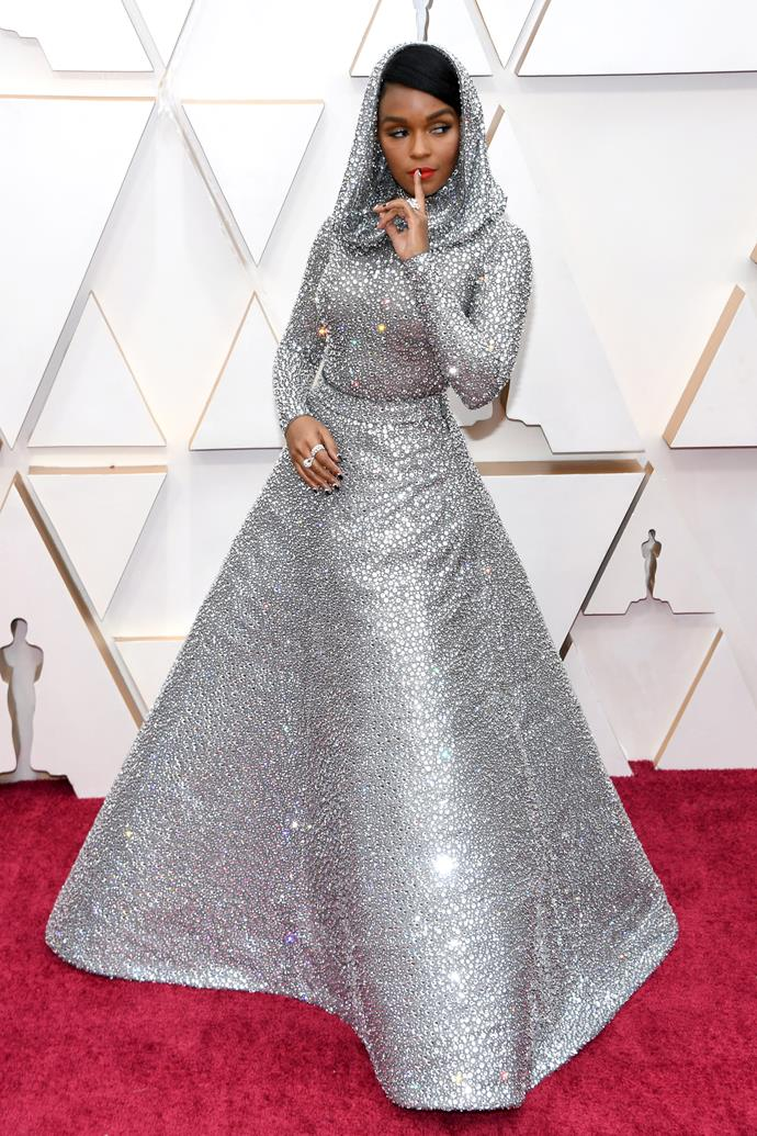 US singer-songwriter Janelle Monáe propels herself into the best dressed category immediately. Coveting this silver sequined spectacle!