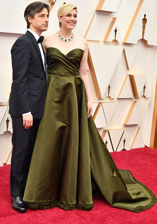 The stunning Greta Gerwig is all kinds of chic in this mossy green gown. She's all smiles next to partner Noah Baumbach.