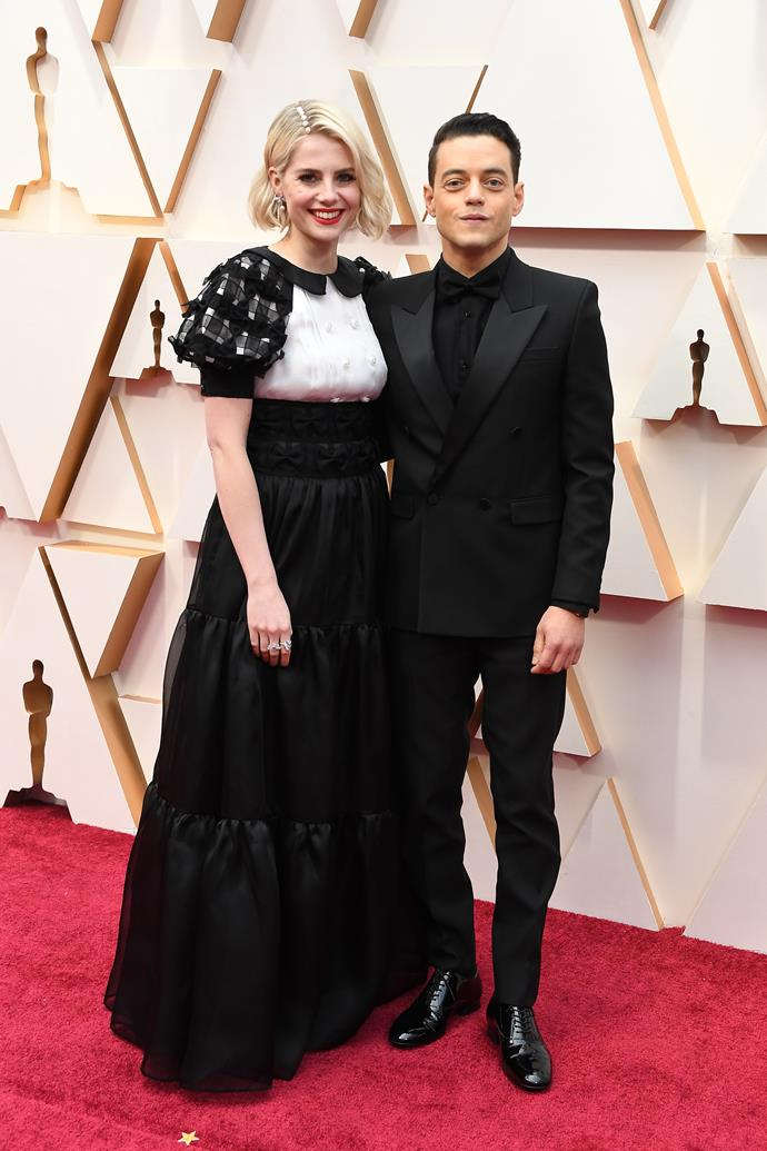 British actors Lucy Boynton and Rami Malek are glam couple #goals.