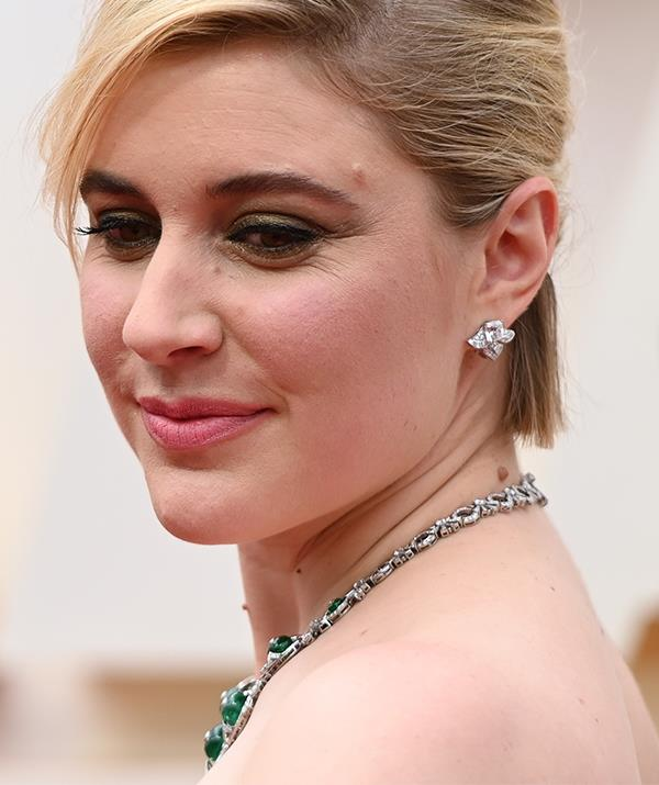 *Little Women* director Greta Gerwig went demure with this understated, yet chic minimal look. Loving the dash of moss green eye shadow.