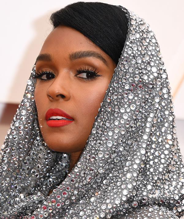 Singer Janelle Monae's sequined dress was a statement in itself, and her oh-so-subtle sparkly eyeliner finished her ensemble to perfection.