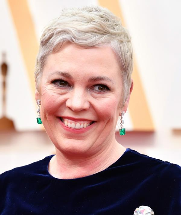 *The Crown*'s Olivia Colman debuted a chic blonde 'do for Hollywood's night of nights.