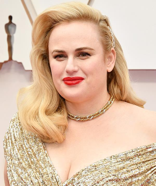 Aussie stunner Rebel Wilson's bright red lip and swept back hair practically screamed old Hollywood glamour.