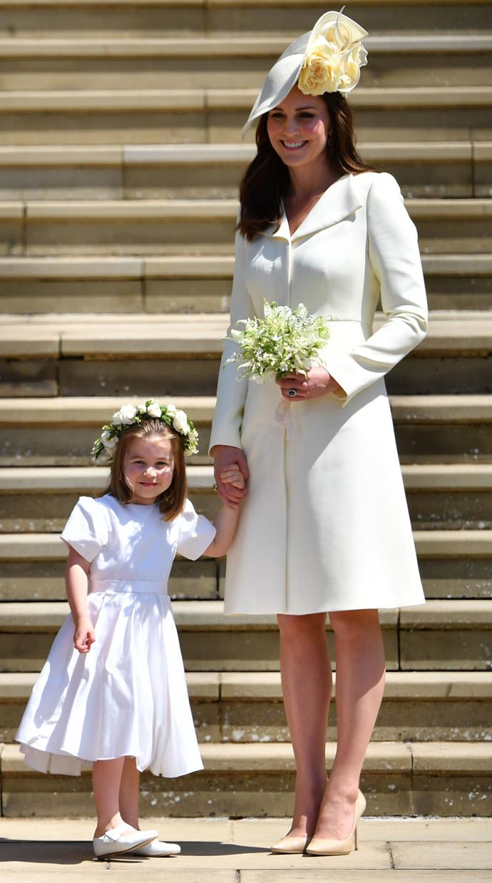 For Uncle Harry's wedding, Princess Charlotte stole the show as a flowergirl, but she and her mum matched in similar pale ensembles.