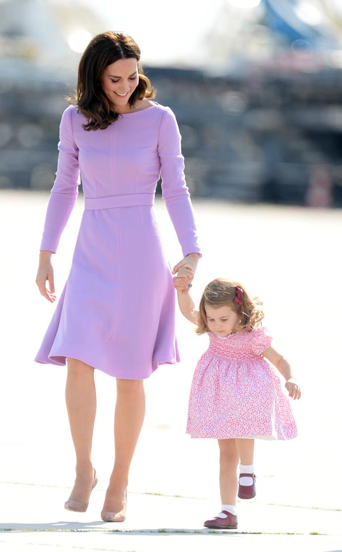 She's grown up a lot since the royal tour to Poland, but Princess Charlotte was the ultimate cutie in her dress that matched Duchess Catherine's.
