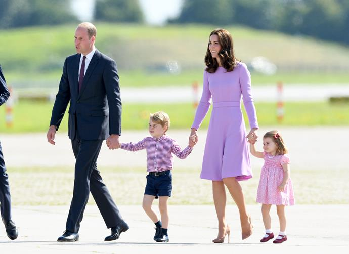 In fact, the whole family colour-coordinated in pink and purple.