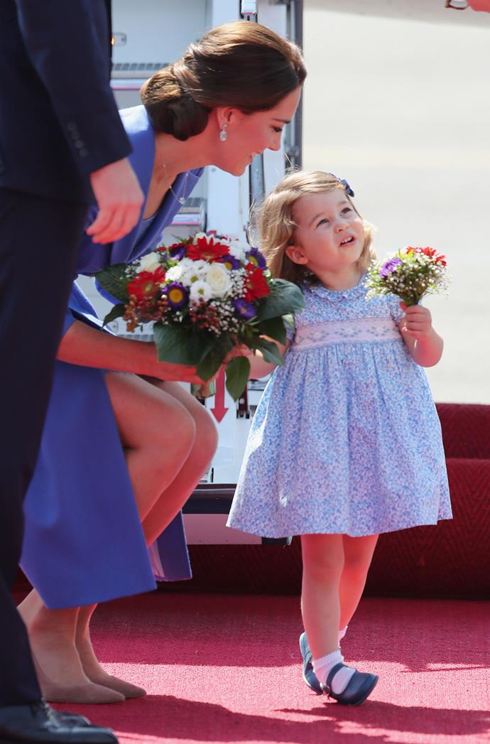 Just like mum, Princess Charlotte received her own posy of flowers on tour.