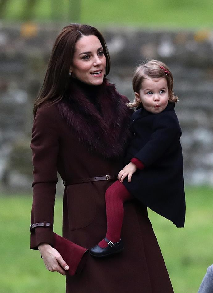 Matching in maroon for Christmas with the Middletons.
