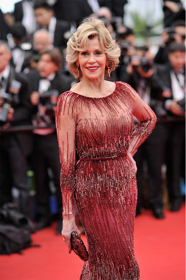 Jane pictured in Cannes in 2014 during the Elie Saab dress's first outing.