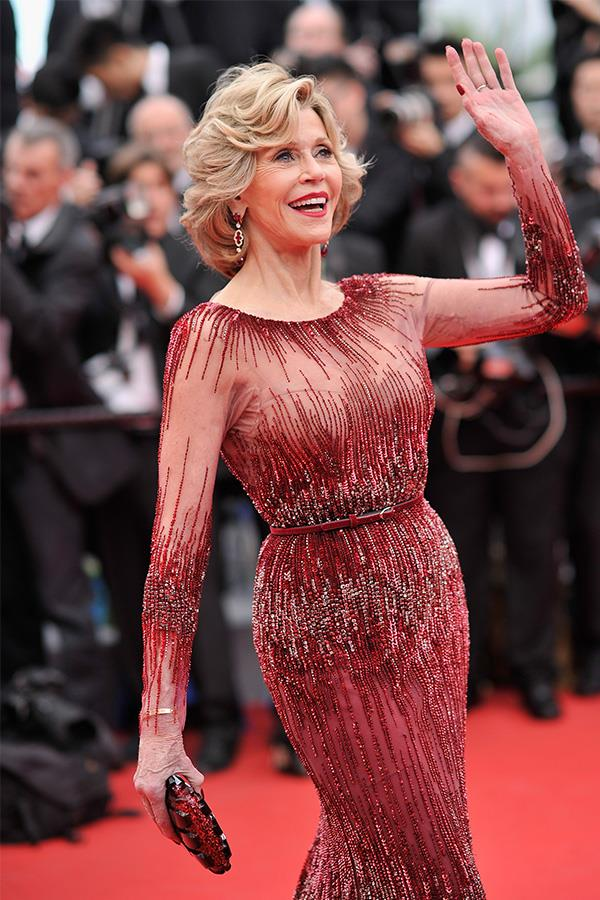 Jane waving to the crowds in Cannes.