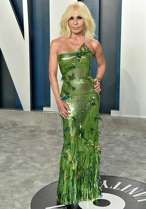 Donatella Versace also brought some zest in this bright green gown.
