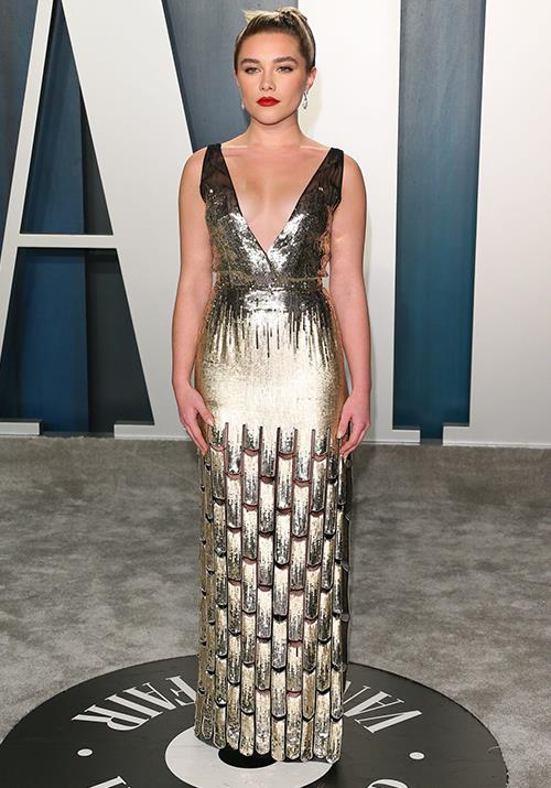 Florence Pugh was a golden goddess for the after-party fanfare.